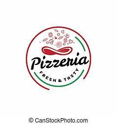 Circle Pizza Logo Design, Pizzeria Kit Design Concept