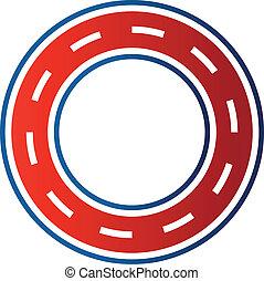 Circle race circuit image. Car road track icon