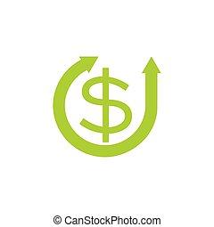 circle refresh arrows money dollar symbol vector