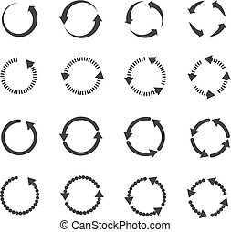 Circle refresh reload rotation loop vector arrows set. Sign...