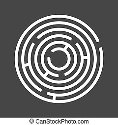 Circle Ring Maze on Black Background. Vector
