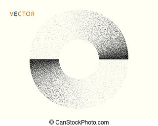 Circle, ring, monochrome with noise. Abstract geometric ...