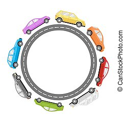 Circle Road Frame with Colorful Cars Isolated on White