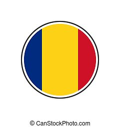 Circle romania flag with icon vector isolated on white background