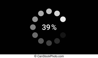 Circle rotating loading or progress bar icon. White dot ring on black background. Animation motion graphic. Downloading - 1 to 100 percentage. Loading process to complete.