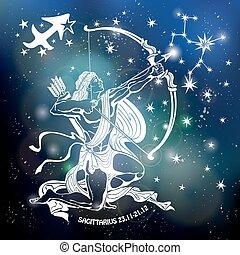 circle., sagittarius., plano de fondo, zodíaco, señal, ...