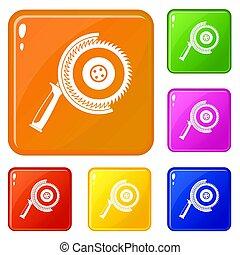 Circle saw icons set color