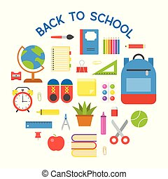Circle school Bag icon and school supplies poster, flat design
