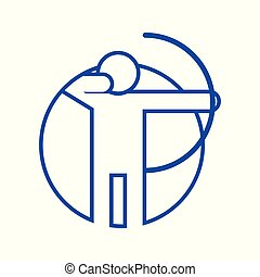 Circle Shape Archery Outline Sport Figure Symbol Vector Illustration