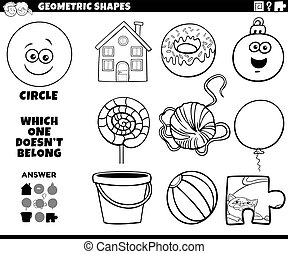 Black and White Cartoon Illustration of Circle Geometric Shape Educational Game for Children Coloring Book Page