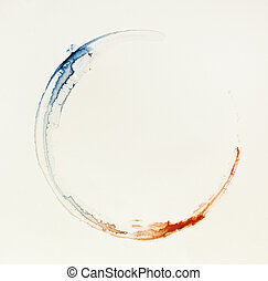 Circle shape imprint - Red-blue circle shape imprint on warm...