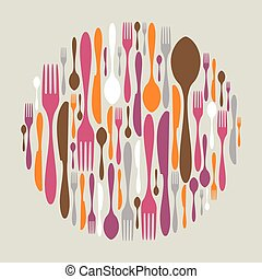 Circle shape made of cutlery icons