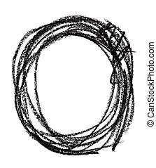 Circle shape made with black pastel crayon, isolated on...
