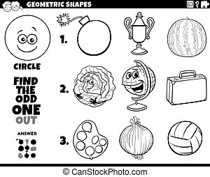 circle shape objects educational task coloring book - Black ...