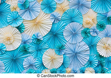 circle shape of origami blue and white papers for Background...