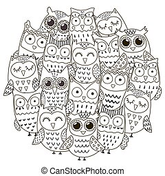 Circle shape pattern with cute owls for coloring book....