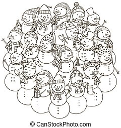 Circle shape pattern with cute snowmen for coloring book