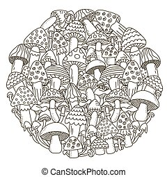 Circle shape pattern with fantasy mushrooms for coloring book