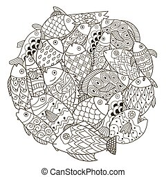 Circle shape pattern with ornamental fish for coloring book