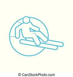 Circle Shape Skiing Outline Sport Figure Symbol Vector Illustration