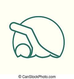 Circle Shape Swimming Sport Figure Outline Symbol Vector Illustration
