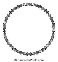 Circle shaped frame of linear double spirals