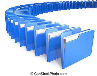 Files. - Circle shaped row of Files. Blue.
