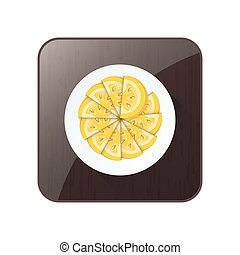 Circle Sliced Tomato Yellow Color icon and button