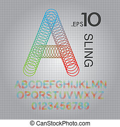 Circle Sling Alphabet and Numbers Vector