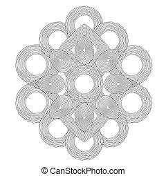 Circle spiral ornament. Op art lined mandala. Painting book...