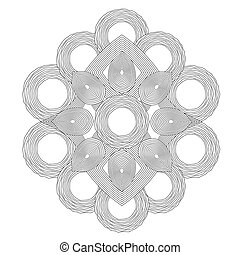 Circle spiral ornament. Op art lined mandala. Painting book....
