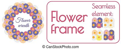 Circle spring wreath of gerberas and daisies PLUS seamless brush element that can be used to create your own wreath design. Vector