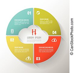 Circle step cloud concept with icons.