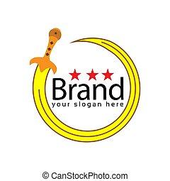 Circle Sword logo. Vector Illustration on white background
