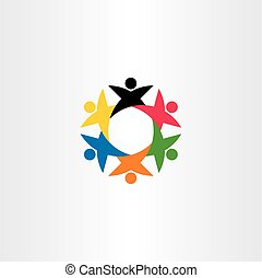 circle team people teamwork logo icon friend element