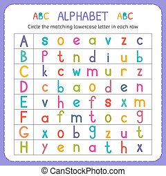 Circle the matching lowercase letter in each row. From A to H. Worksheet for kindergarten and preschool. Exercises for children. Vector illustration