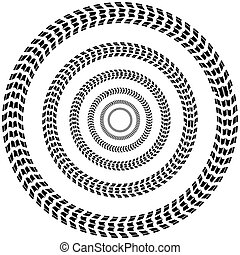 Circle tire track background - White abstract background...