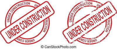 circle under constructionsticker stamp set