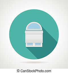 Circle vector icon for arch window with rolled shutters