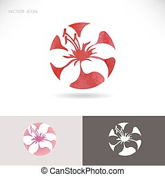 Circle vector logo with flower, lily on a red background.