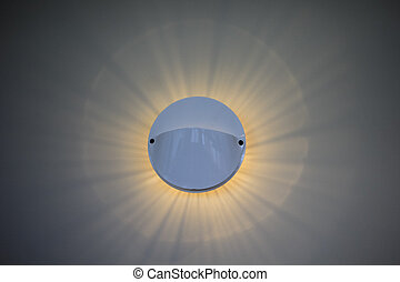 circle wall lamp and ray light on white background