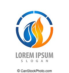 Circle water and fire logo concept design. Symbol graphic template element vector
