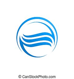 Circle waves water in blue color logo template