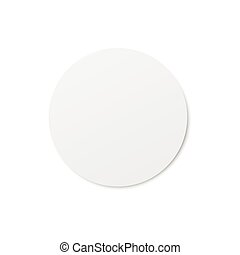 Top view on circle white blank beer coaster, mockup of realistic vector illustration isolated on white background. Template of cardboard or plastic underneath beer mat.