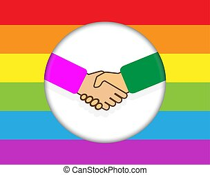 circle with a handshake. Background in colors of LGBT