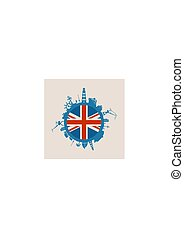 Circle with cargo port and travel relative silhouettes. Britain flag.