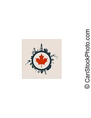 Circle with cargo port and travel relative silhouettes. Canada flag.