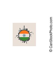 Circle with cargo port and travel relative silhouettes. India flag.