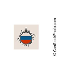 Circle with cargo port and travel relative silhouettes. Russia flag.