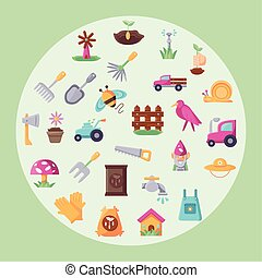 circle with colorful gardening icon set over green background, flat detail style